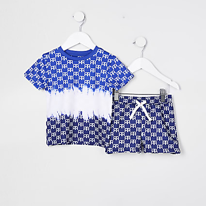 Mini boys blue monogram short set