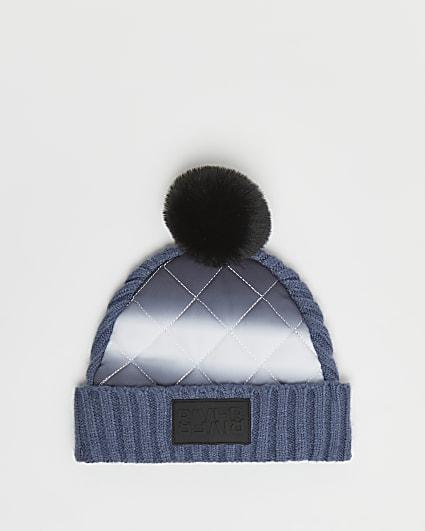 Mini boys blue nylon padded beanie hat