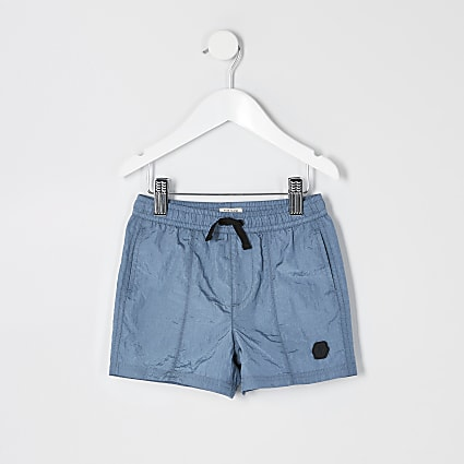 Mini boys blue nylon shorts