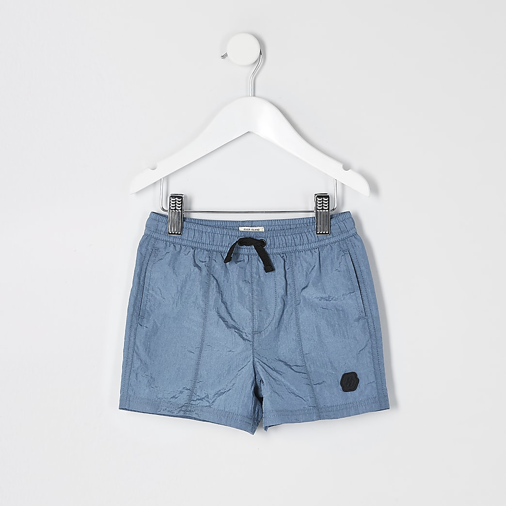 Mini boys blue nylon shorts