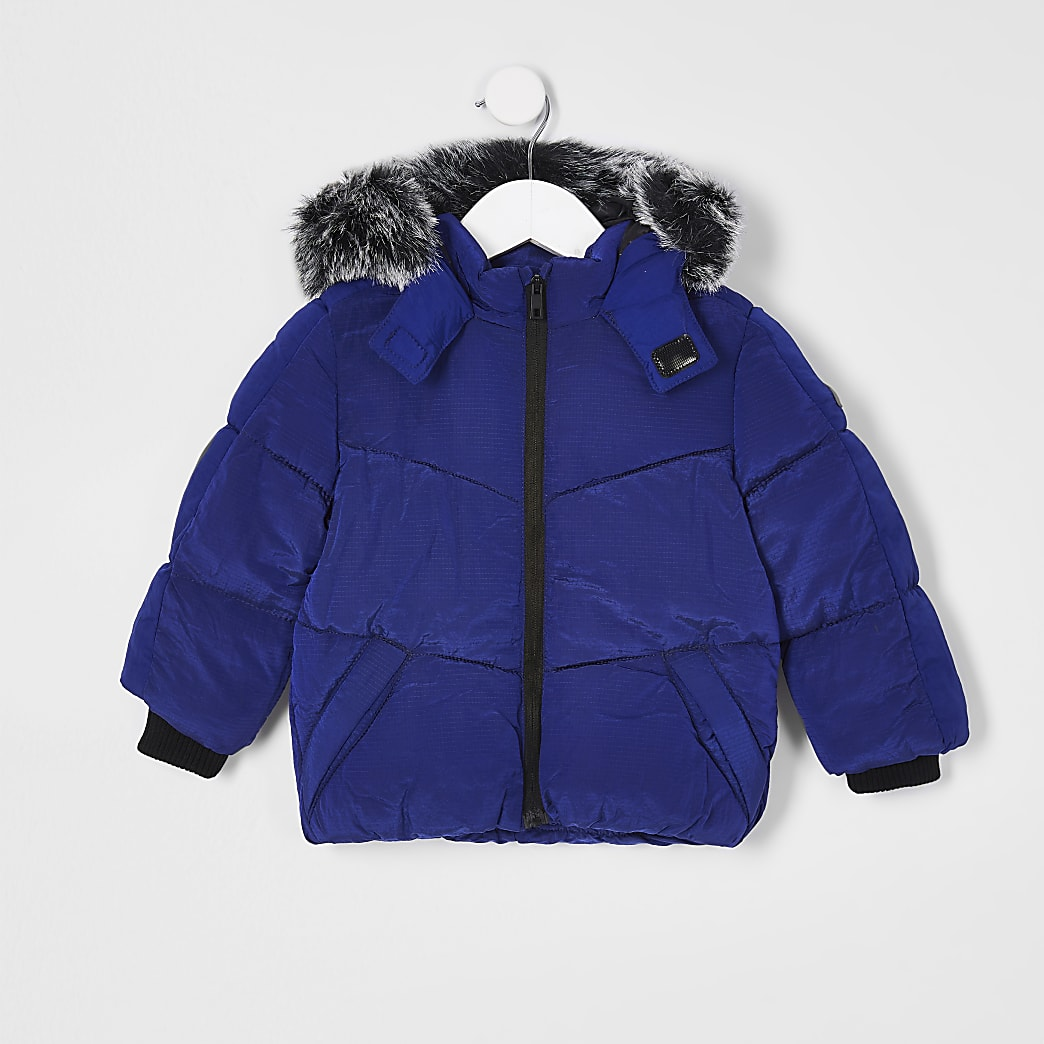 Mini boys blue padded jacket