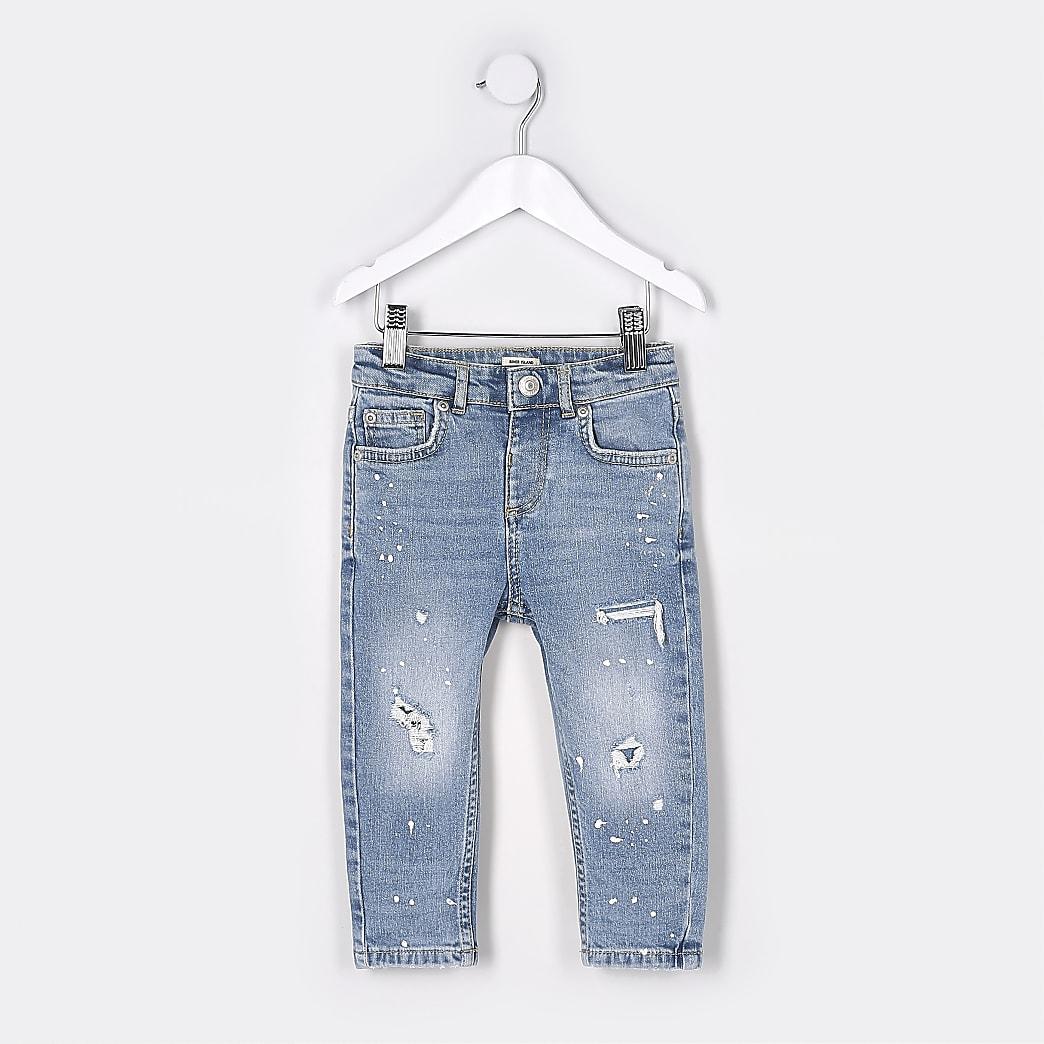 Mini boys blue paint design Sid skinny jeans