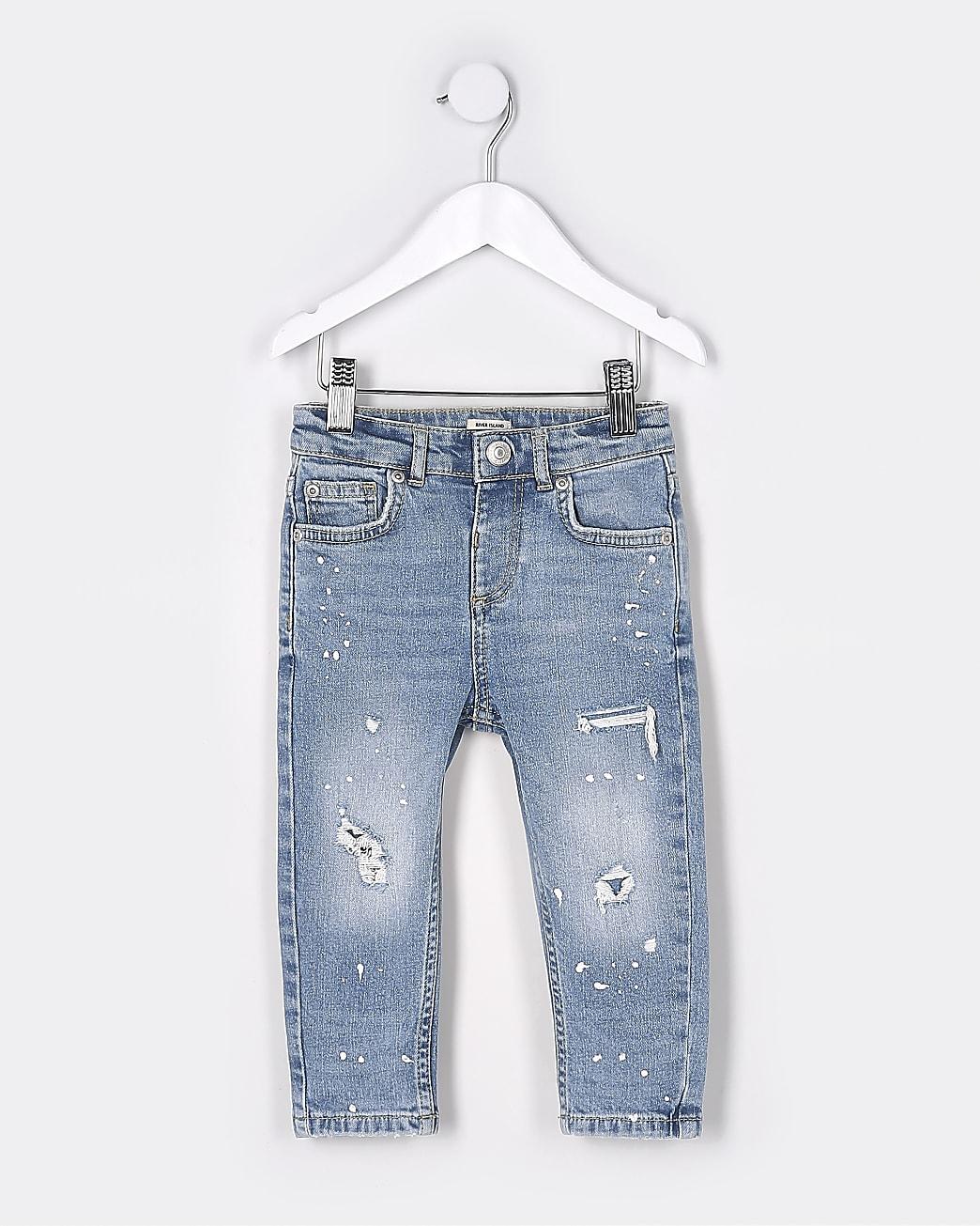 Mini boys blue paint design skinny jeans