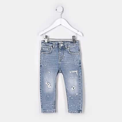 Mini boys blue paint design skinny jeans