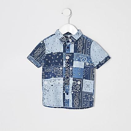 Mini boys blue paisley print shirt