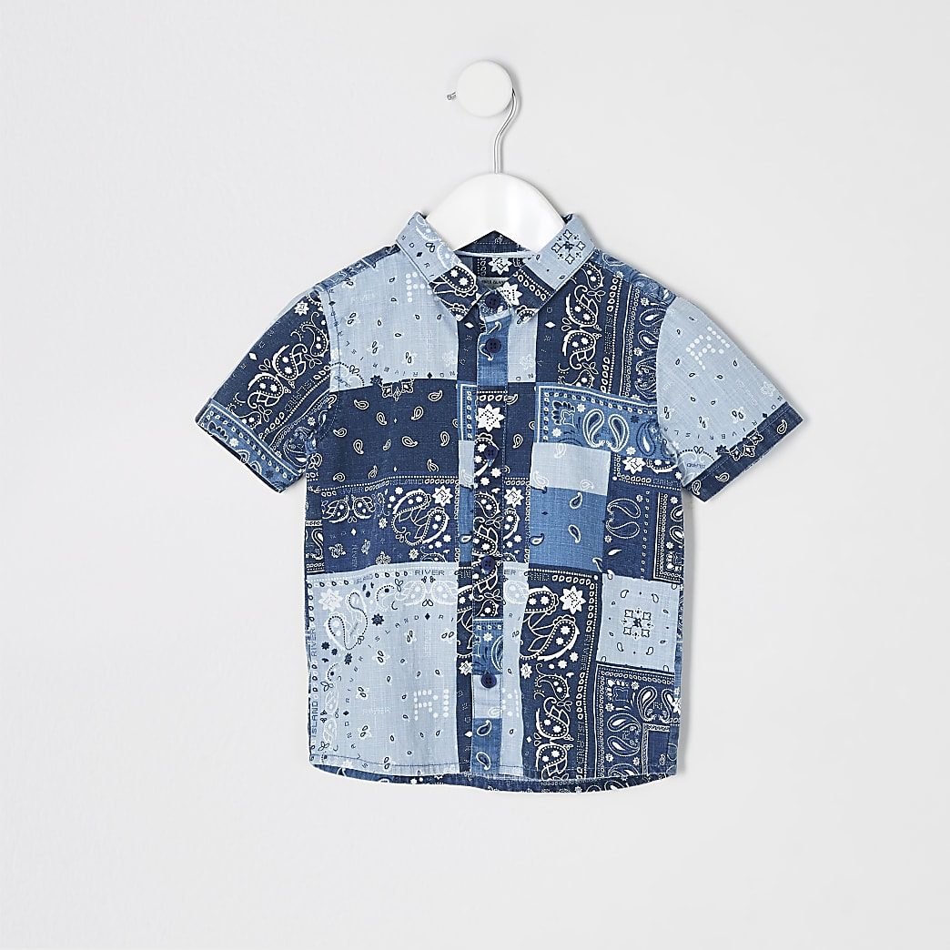 Mini boys blue paisley print shirt
