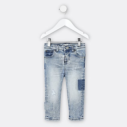 Mini boys blue patchwork Sid skinny fit jeans
