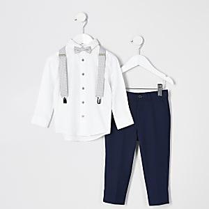 Mini - Outfit met blauw kostuum met pindot stippen voor jongens
