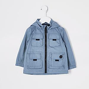 Mini -Blauw nylon jack met capuchon en zakken voor jongens