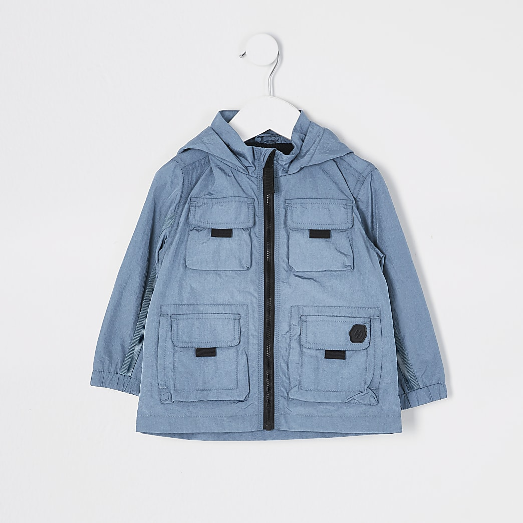 Mini boys blue pocket front nylon jacket