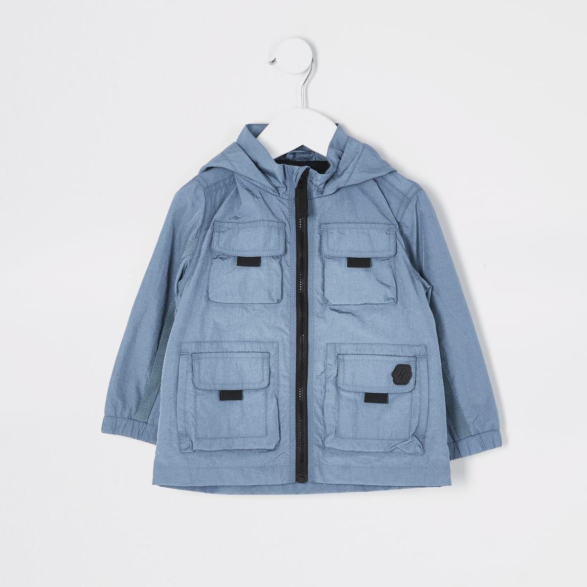 Mini boys blue pocket front nylon jacket
