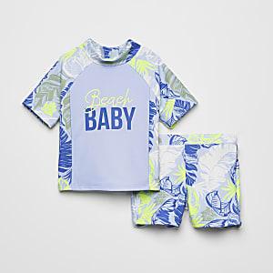 Mini - Blauwe zwem outfit met print voor jongens