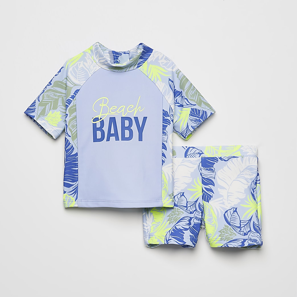 Mini boys blue printed rash swim outfit