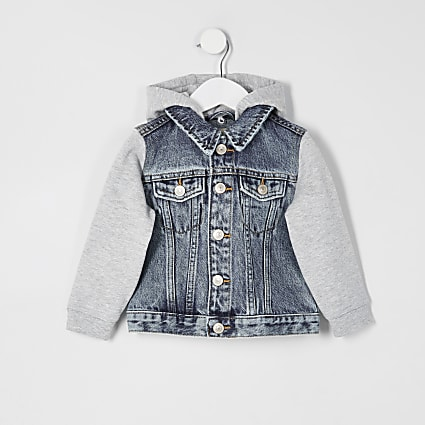 Mini boys blue Prolific hooded denim jacket