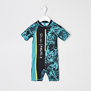 Prolific - Blauw zwempak met bladprint voor mini-jongens