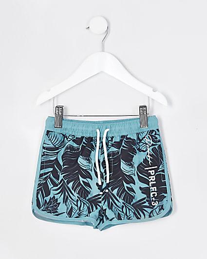 Mini boys blue Prolific printed swim shorts