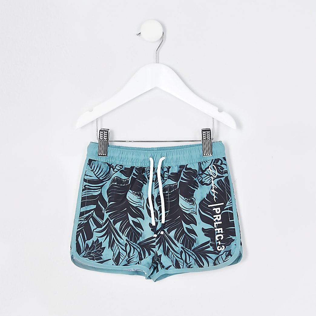 Mini boys blue Prolific printed swim shorts