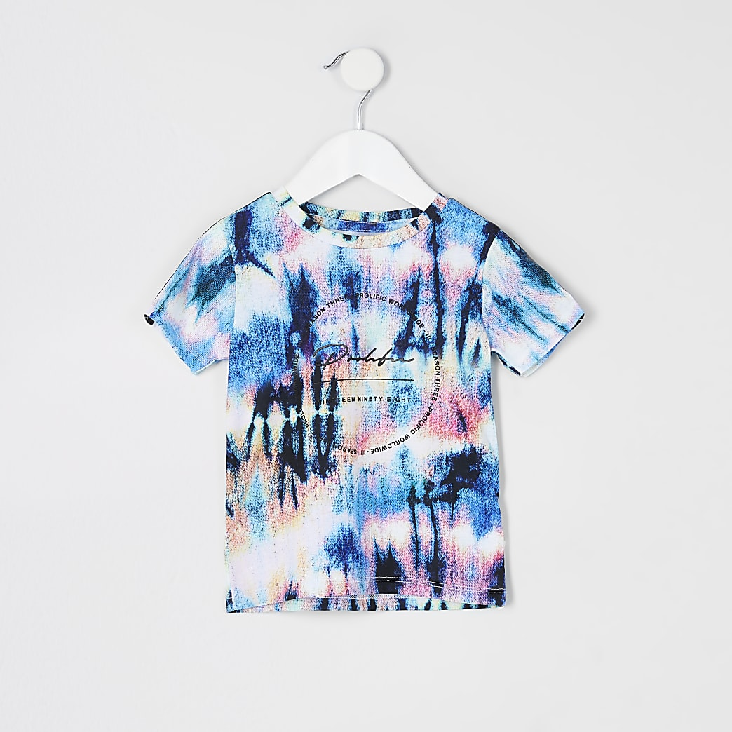 Prolific - Blauw T-shirt met bies en print voor mini-jongens