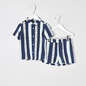 Prolific - Blauwe outfit met gestreepte shorts voor mini-jongens
