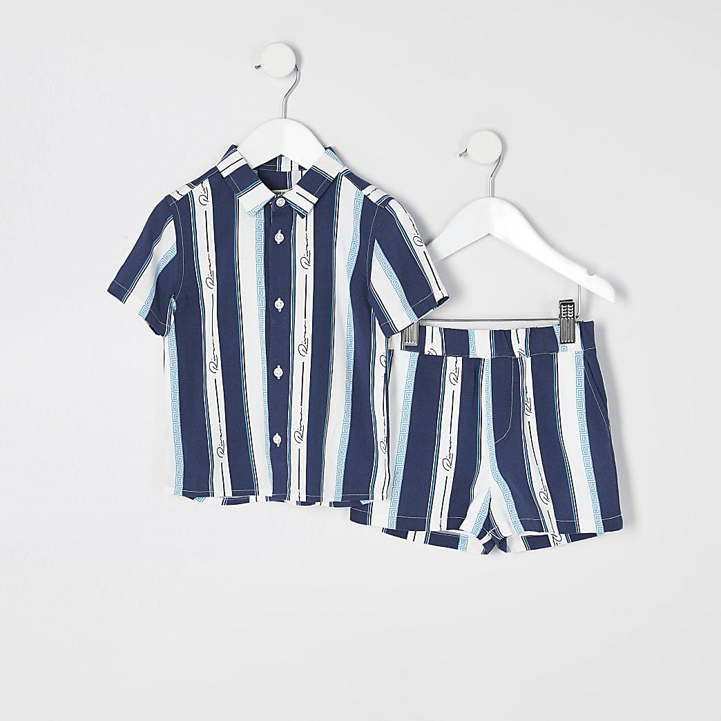 Mini boys blue Prolific stripe shirt outfit