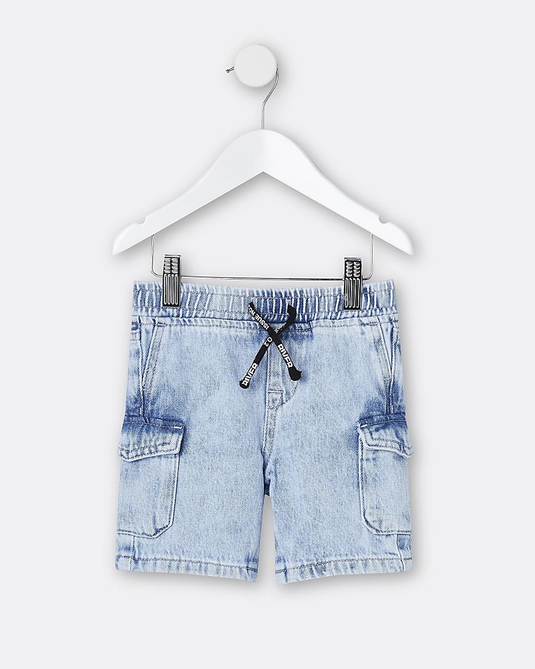 Mini boys blue pull on denim shorts
