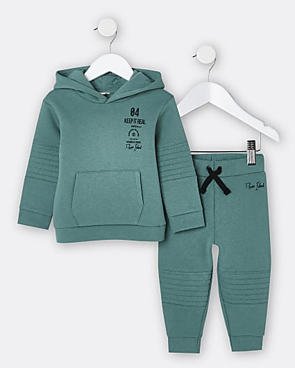 Mini boys blue quilted hoodie and joggers set