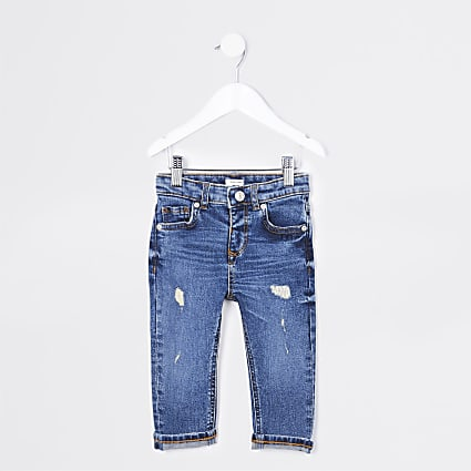 Mini boys blue regular fit jeans