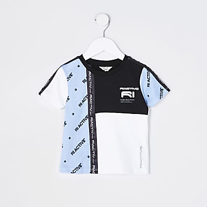 Mini boys blue RI Active colour block t-shirt