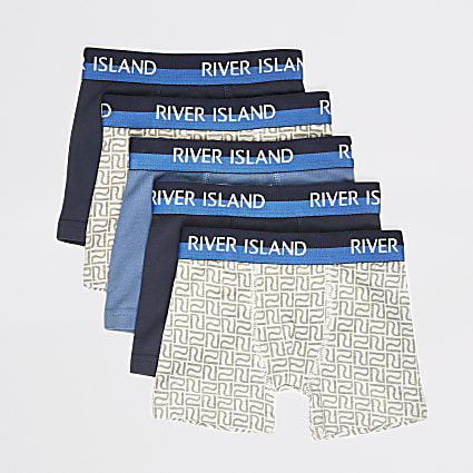 Mini boys blue RI boxers 5 pack