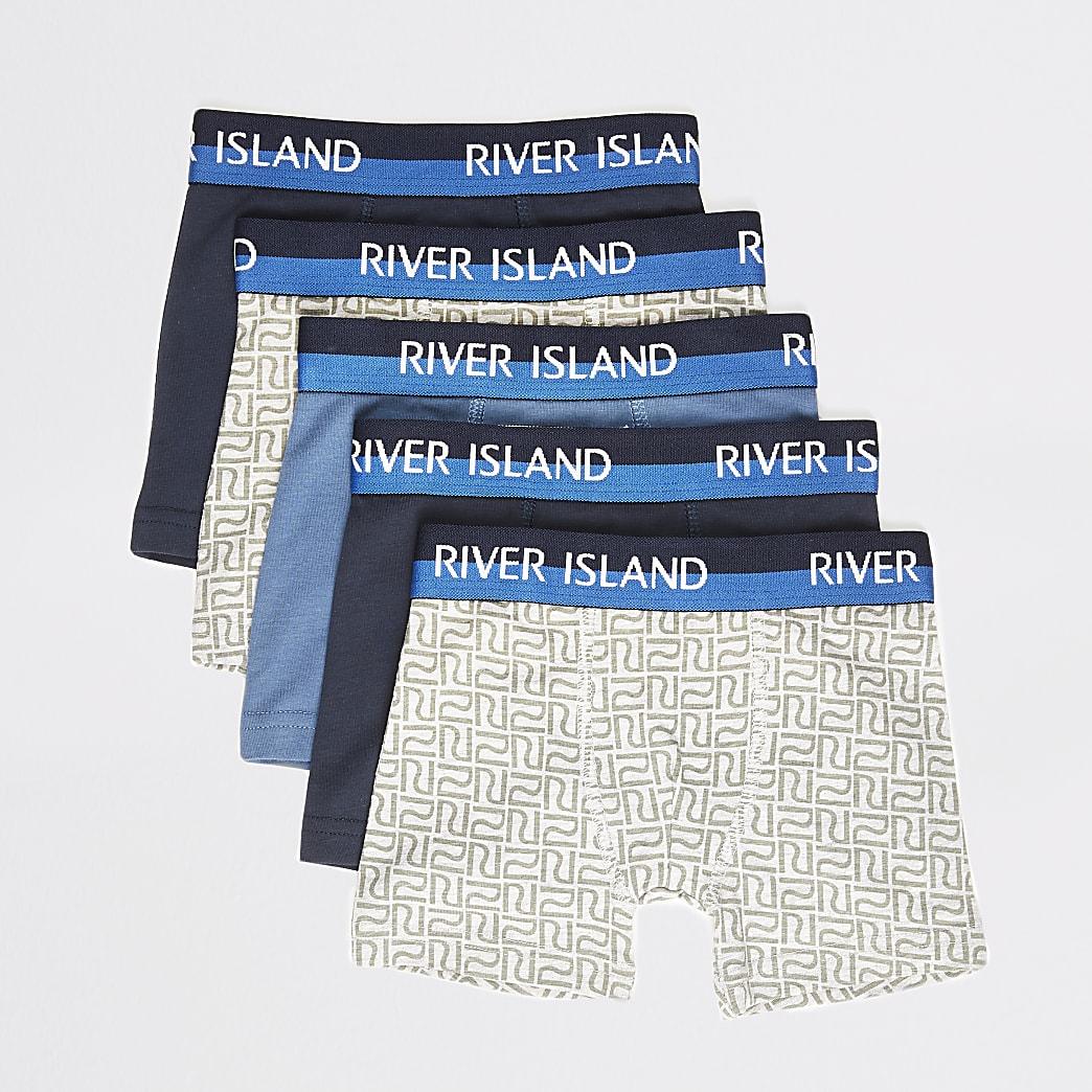 Mini boys blue RI boxers 5 pack
