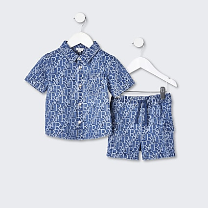 Mini boys blue RI denim shirt outfit