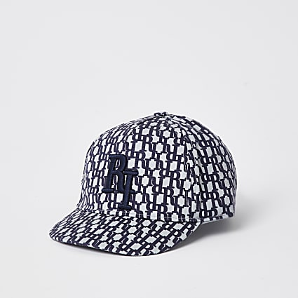 Mini boys blue RI logo jacquard cap