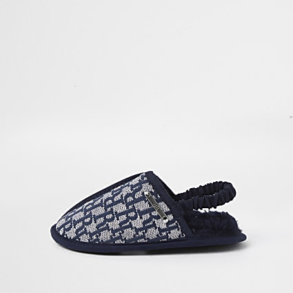 Mini boys blue RI monogram mule slippers