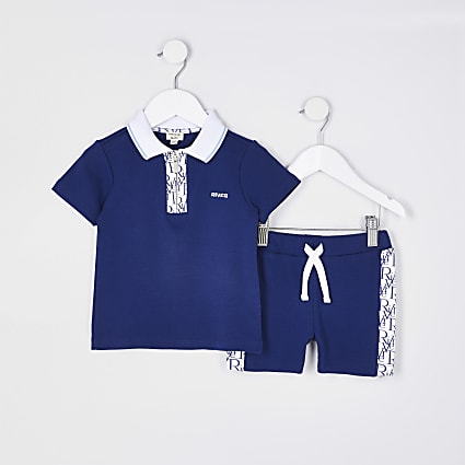 Mini boys blue RI monogram polo shirt outfit