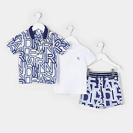 Mini boys blue RI print shirt 3 piece outfit