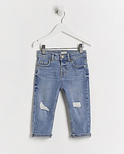 Mini boys blue rip slim jeans