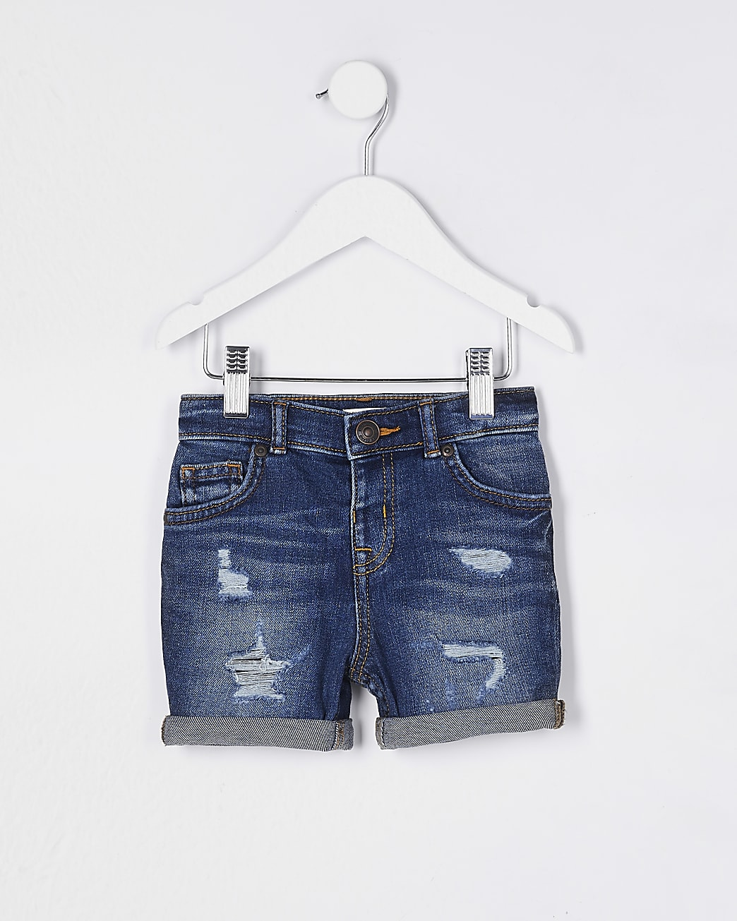 Mini boys blue ripped denim shorts