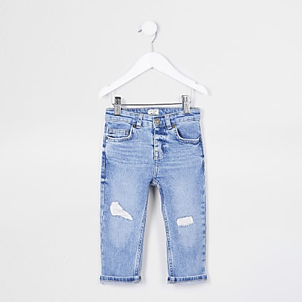 Mini boys blue ripped regular slim fit jeans