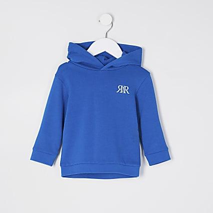 Mini boys blue RIR printed hoodie