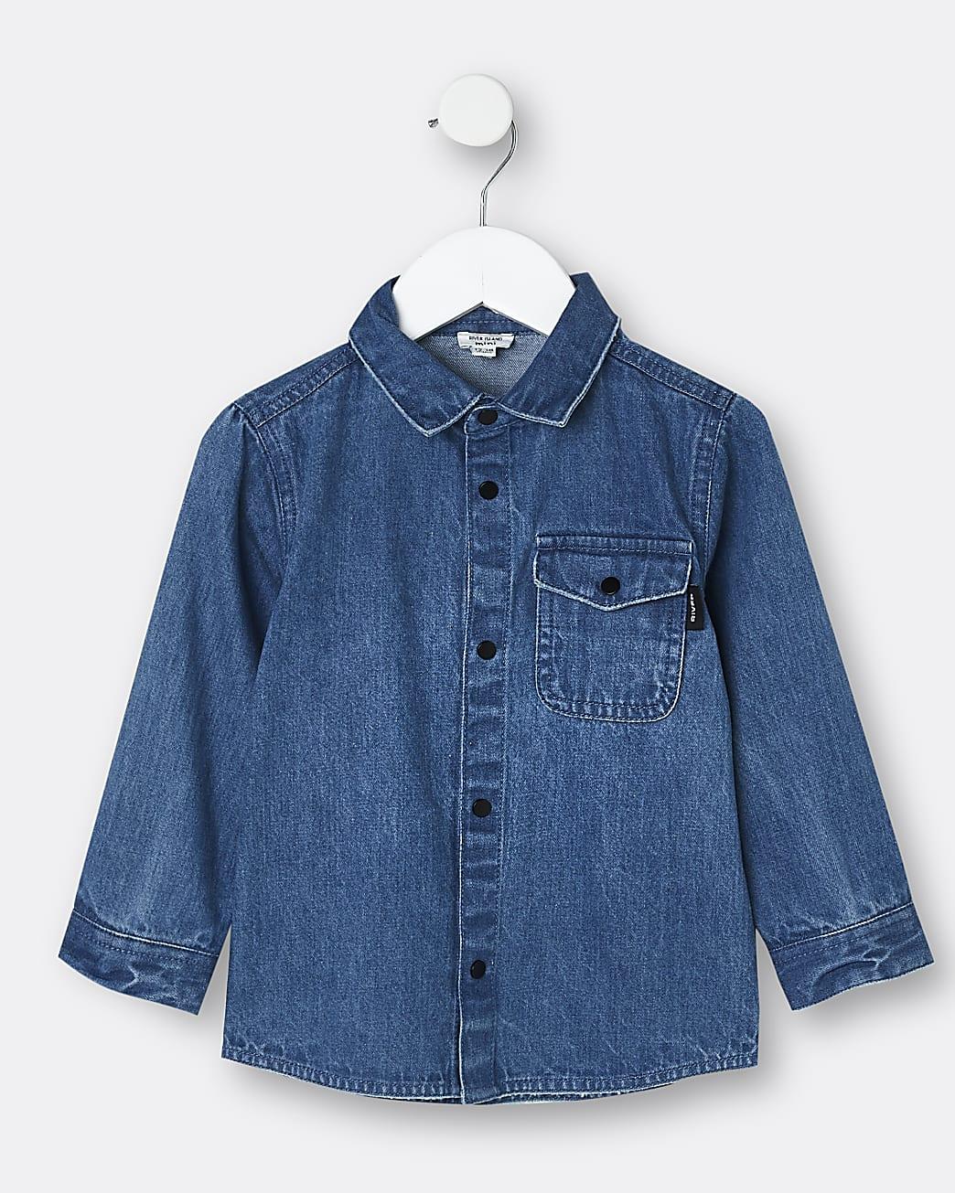 Mini boys blue River back print denim shirt