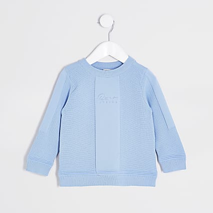 Mini boys blue 'River' moss stitch jumper