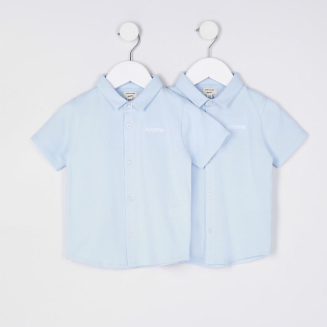 Mini boys blue River shirts 2 pack