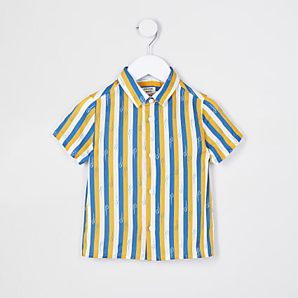 Mini boys blue River stripe shirt
