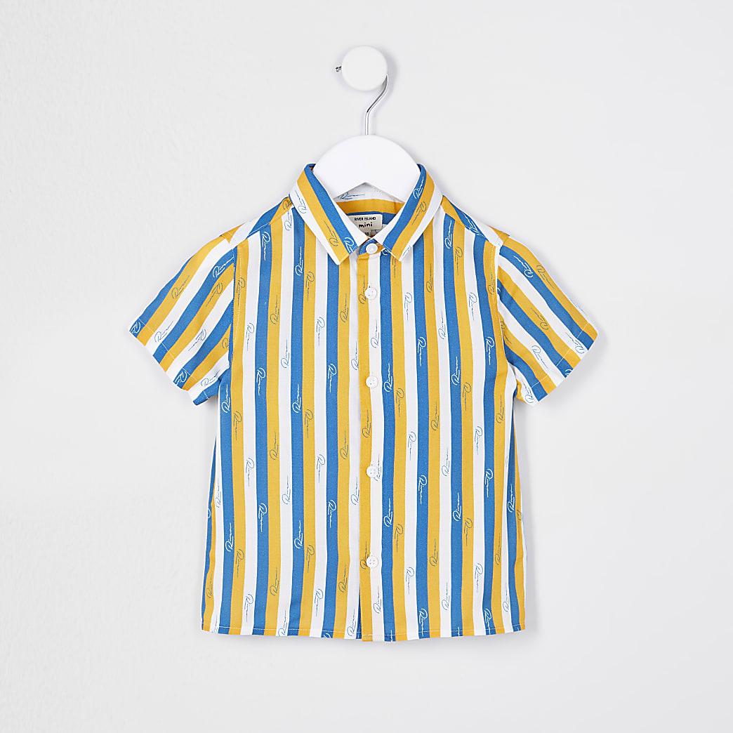 Mini boys blue River stripe shirt