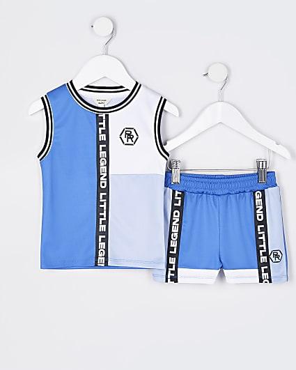 Mini boys blue RR mesh vest and shorts set