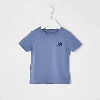 Mini boys blue RVR embroidered t-shirt