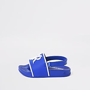 Mini - Blauwe slippers met RVR-letters voor jongens