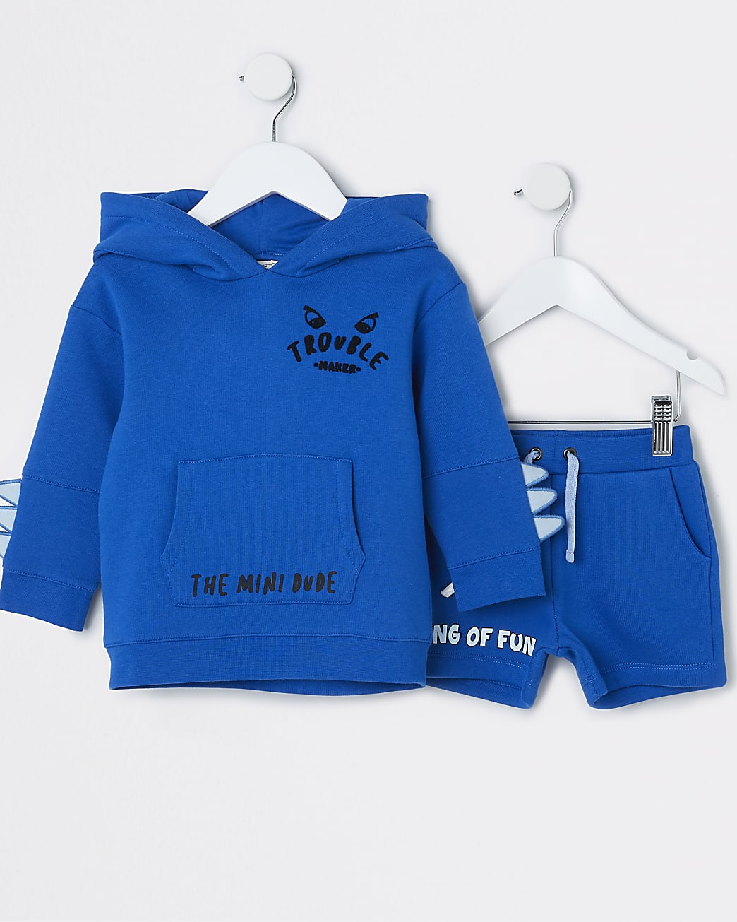 Mini boys blue shark hoodie outfit