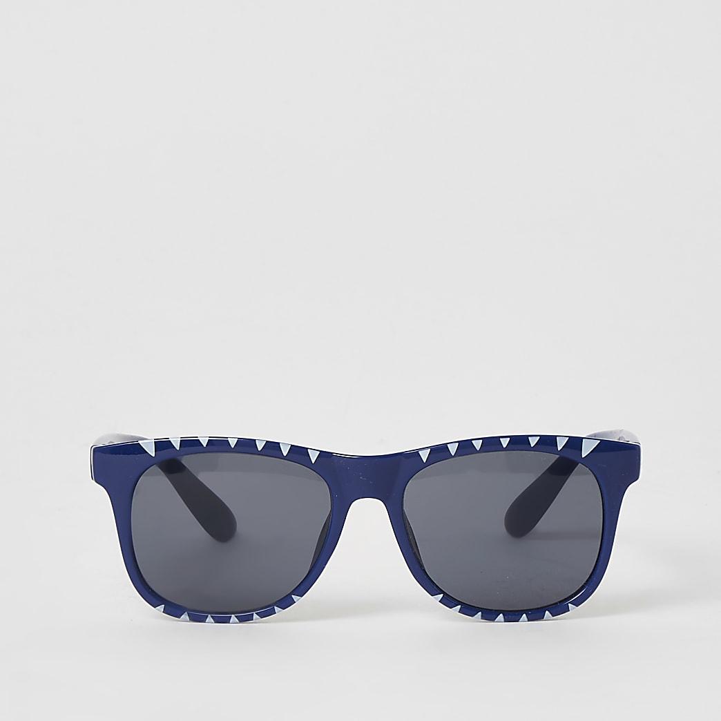 Mini - Blauwe retro zonnebril met haaienprint voor jongens