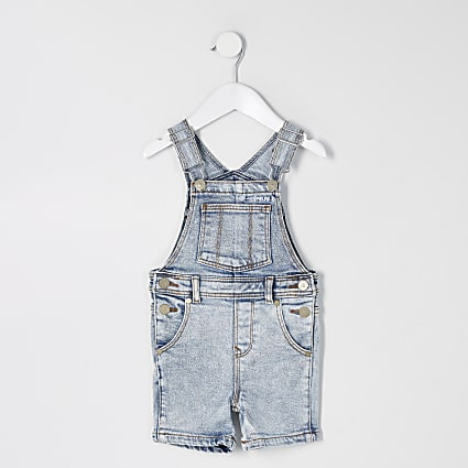 Mini boys blue short denim dungaree